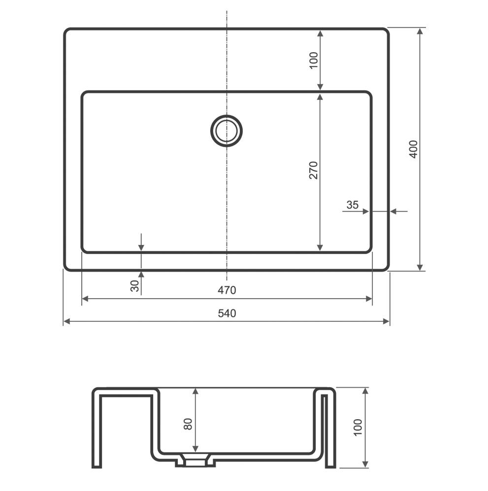 Umywalka prostokątna nablatowa 54x40